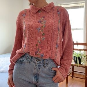 Vintage Pink Sweater With Floral Embroidery